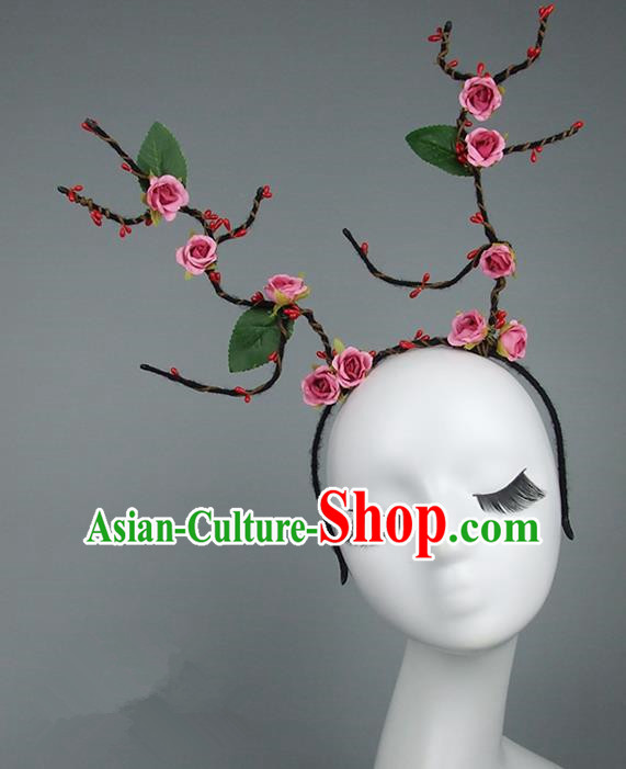 Handmade Halloween Fancy Ball Hair Accessories Pink Flowers Headwear, Ceremonial Occasions Miami Model Show Headdress