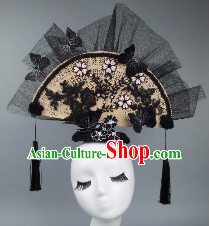 Handmade Asian Chinese Fan Hair Accessories Lace Flowers Butterfly Headwear, Halloween Ceremonial Occasions Miami Model Show Tassel Headdress