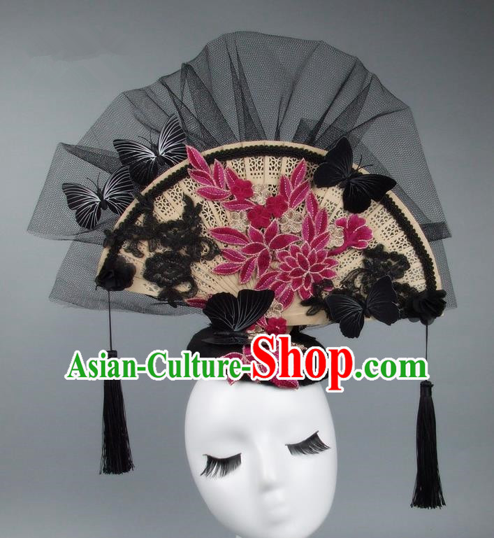 Handmade Asian Chinese Fan Hair Accessories Red Lace Butterfly Headwear, Halloween Ceremonial Occasions Miami Model Show Tassel Headdress