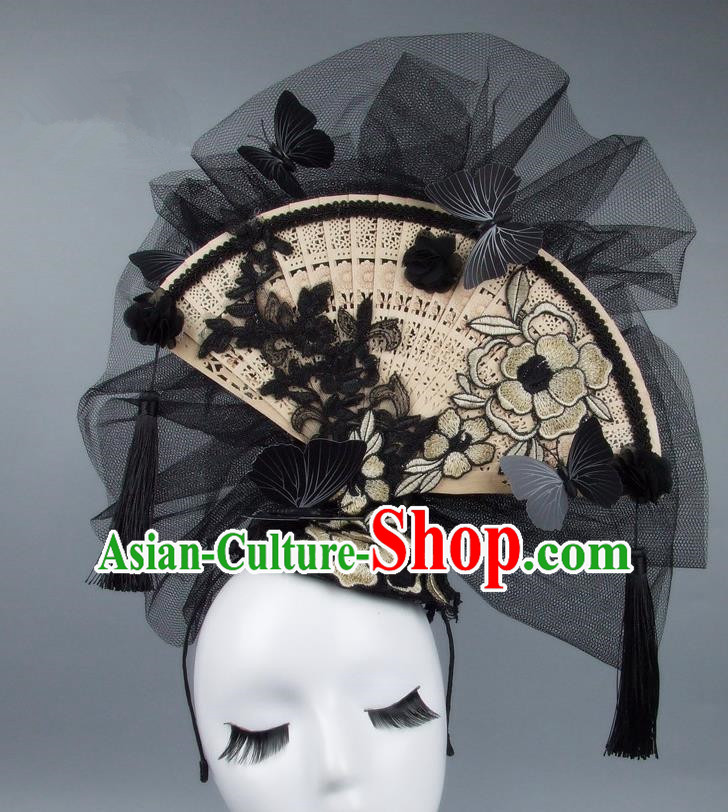 Handmade Asian Chinese Fan Hair Accessories White Lace Flowers Butterfly Headwear, Halloween Ceremonial Occasions Miami Model Show Tassel Headdress