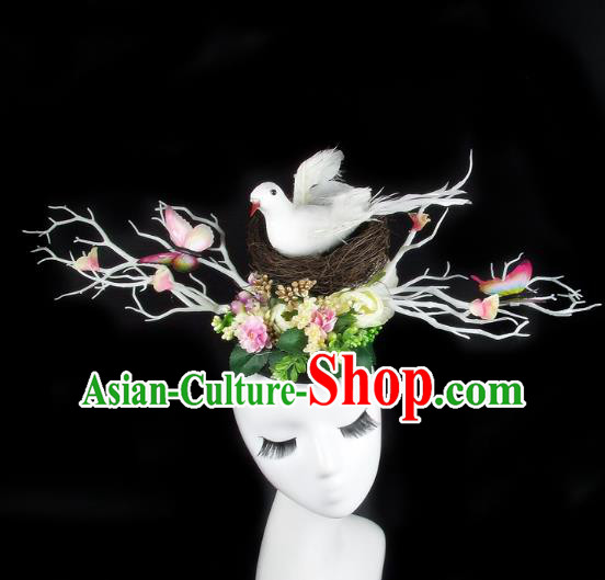 Handmade Exaggerate Fancy Ball Hair Accessories Branch Butterfly Headwear, Halloween Ceremonial Occasions Model Show Headdress