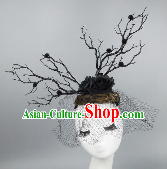 Handmade Exaggerate Fancy Ball Hair Accessories Branch Brown Top Hat, Halloween Ceremonial Occasions Model Show Headdress