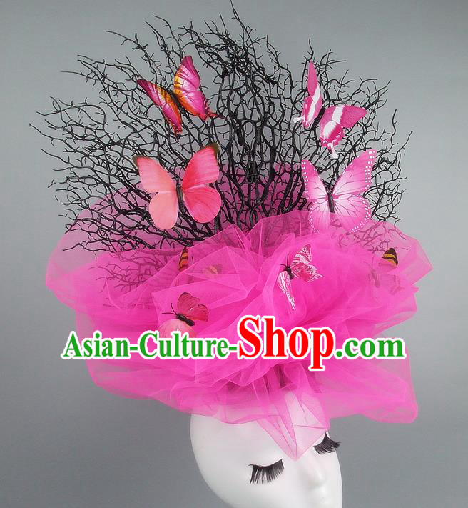 Handmade Exaggerate Fancy Ball Hair Accessories Pink Veil Butterfly Headwear, Halloween Ceremonial Occasions Model Show Headdress