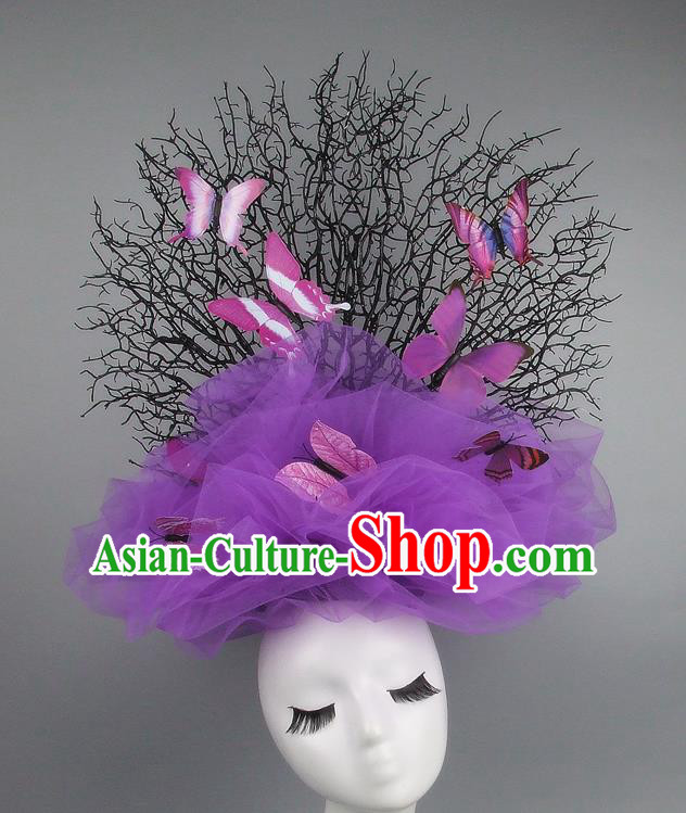 Handmade Exaggerate Fancy Ball Hair Accessories Purple Veil Butterfly Headwear, Halloween Ceremonial Occasions Model Show Headdress
