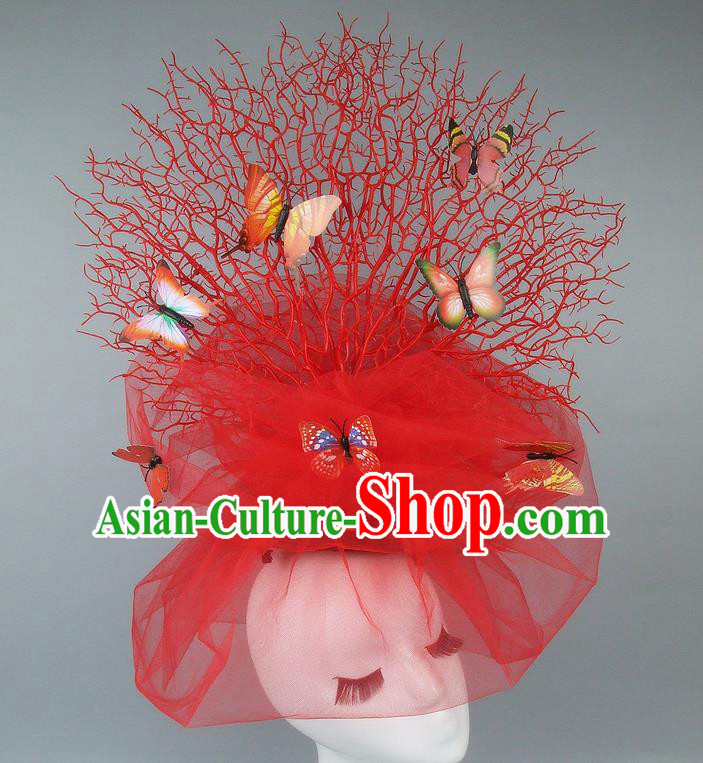 Handmade Exaggerate Fancy Ball Hair Accessories Red Veil Butterfly Headwear, Halloween Ceremonial Occasions Model Show Headdress