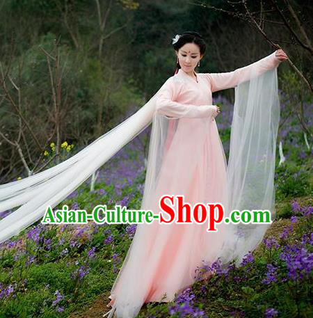 Asian Chinese Tang Dynasty Royal Princess Embroidered Costume, Ancient China Ten great III of peach blossom Palace Lady Fairy Embroidery Pink Dress Clothing