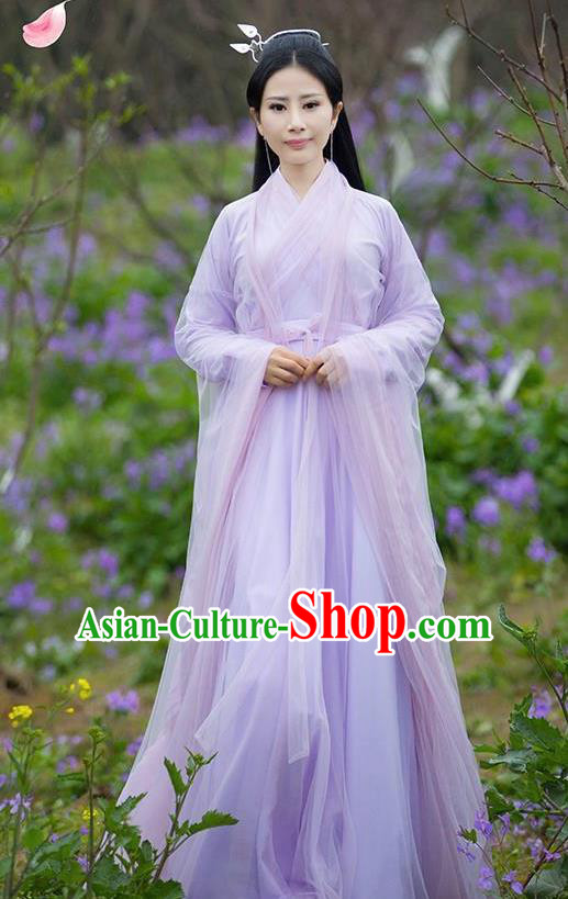 Asian Chinese Royal Princess Embroidered Costume, Ancient China Ten great III of peach blossom Tang Dynasty Palace Lady Fairy Purple Dress Clothing