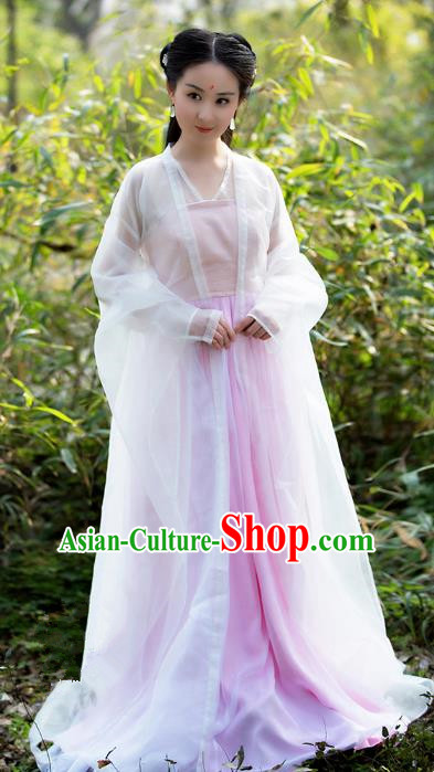 Traditional Chinese Fairy Princess Embroidered Costume, Ancient China Ten great III of peach blossom Tang Dynasty Palace Lady Dress Clothing