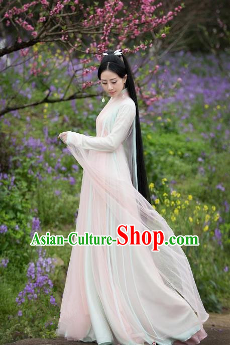 Traditional Chinese Ancient Fairy Palace Lady Embroidered Costume, China Ten great III of peach blossom Princess Peri Dress Clothing