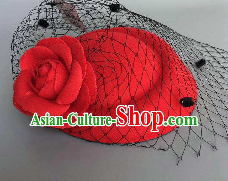 Handmade Wedding Vintage Hair Accessories Red Wool Flower Top Hat, Bride Ceremonial Occasions Model Show Headdress