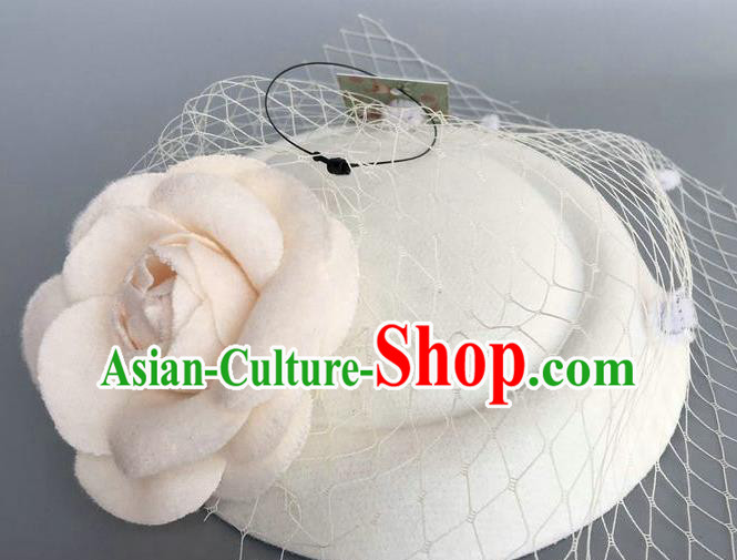Handmade Wedding Vintage Hair Accessories White Wool Flower Top Hat, Bride Ceremonial Occasions Model Show Headdress