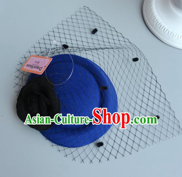 Handmade Wedding Vintage Hair Accessories Royalblue Veil Wool Top Hat, Bride Ceremonial Occasions Model Show Headdress