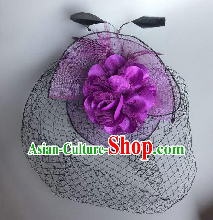 Handmade Vintage Hair Accessories Purple Veil Feather Headwear, Halloween Ceremonial Occasions Model Show Headdress