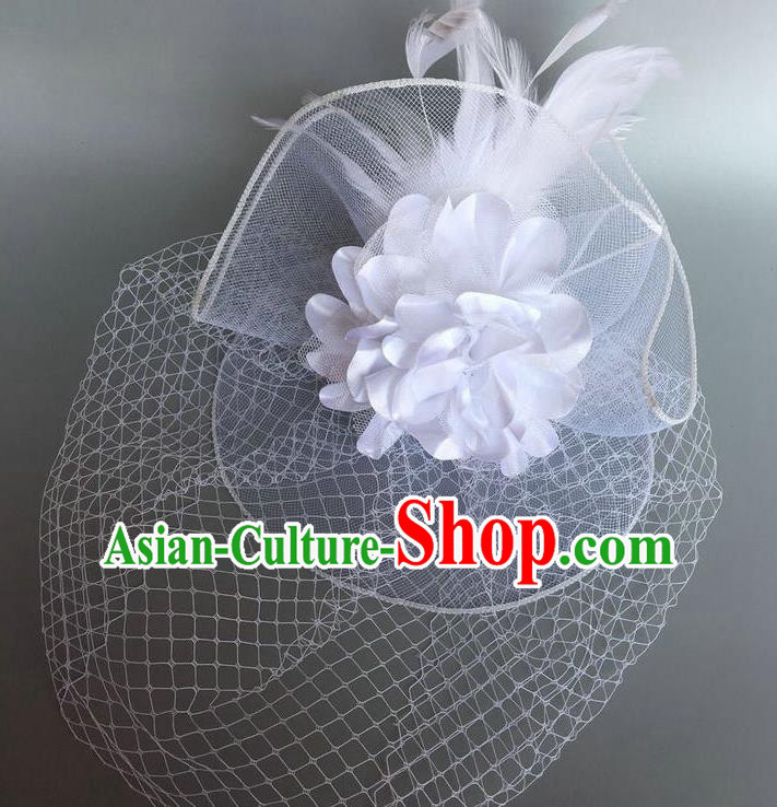 Handmade Vintage Hair Accessories White Veil Feather Headwear, Halloween Ceremonial Occasions Model Show Headdress