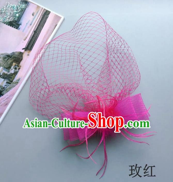 Handmade Vintage Hair Accessories Veil Pink Bowknot Headwear, Bride Ceremonial Occasions Model Show Headdress
