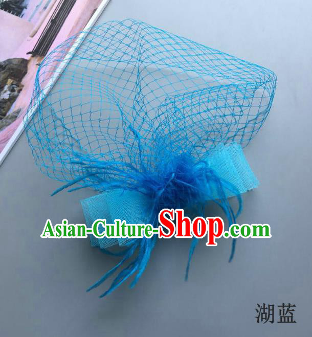 Handmade Vintage Hair Accessories Veil Blue Bowknot Headwear, Bride Ceremonial Occasions Model Show Headdress