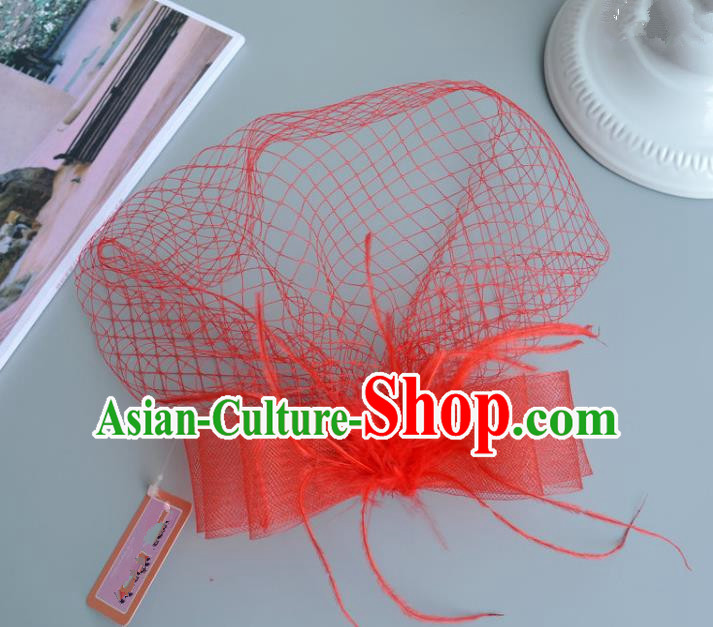 Handmade Vintage Hair Accessories Veil Red Bowknot Headwear, Bride Ceremonial Occasions Model Show Headdress