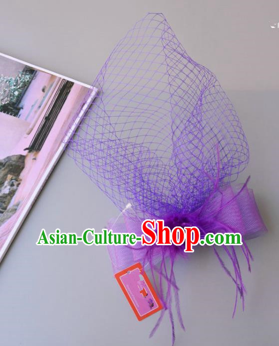 Handmade Vintage Hair Accessories Veil Purple Bowknot Headwear, Bride Ceremonial Occasions Model Show Headdress