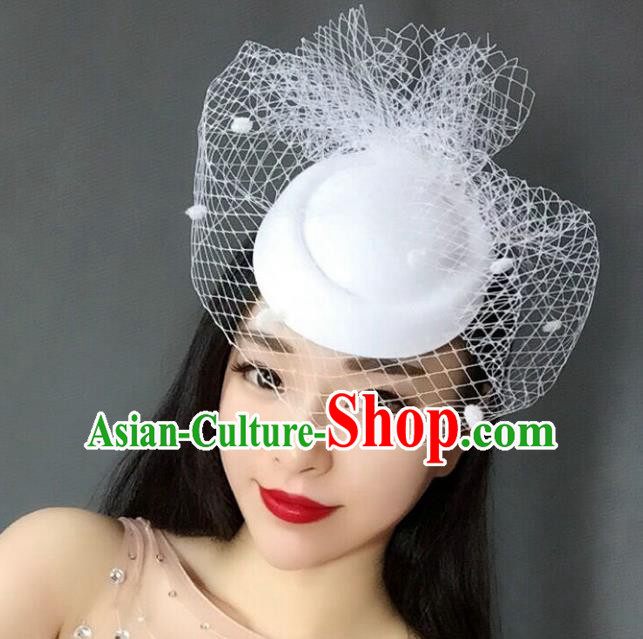 Handmade Vintage Hair Accessories Veil White Top Hat Headwear, Bride Ceremonial Occasions Model Show Headdress