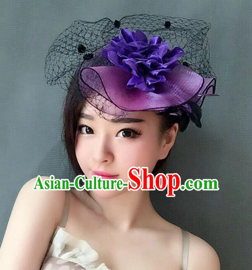 Handmade Vintage Hair Accessories Veil Purple Flower Top Hat Headwear, Bride Ceremonial Occasions Model Show Headdress