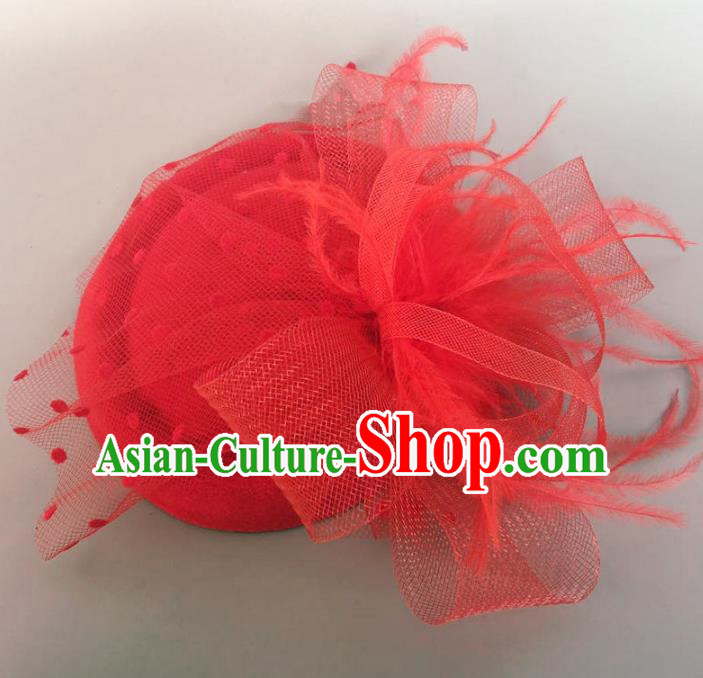 Handmade Vintage Hair Accessories Veil Red Flower Top Hat Headwear, Bride Ceremonial Occasions Model Show Headdress