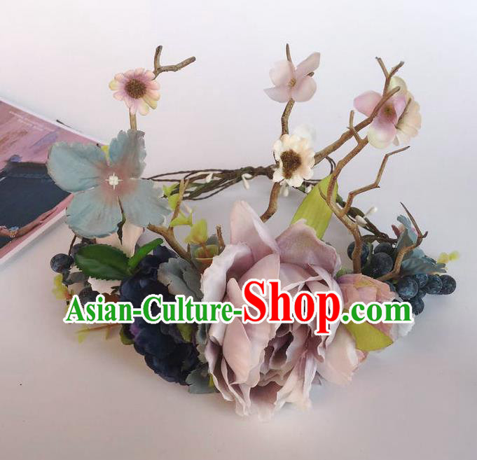 Handmade Exaggerate Fancy Ball Hair Accessories Branch Lilac Flowers Headwear, Halloween Ceremonial Occasions Model Show Headdress