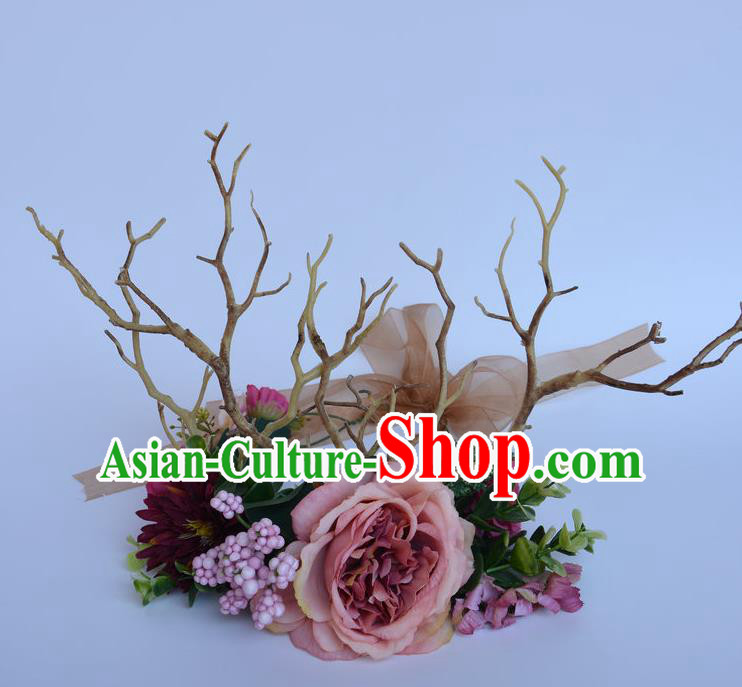 Handmade Exaggerate Fancy Ball Hair Accessories Branch Pink Flowers Headwear, Halloween Ceremonial Occasions Model Show Headdress