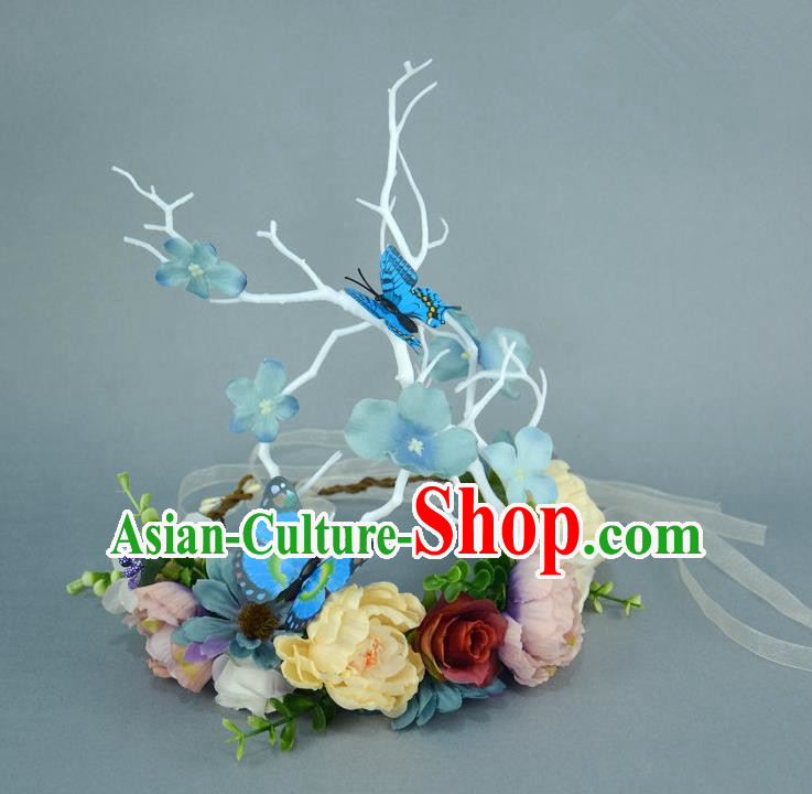 Handmade Exaggerate Fancy Ball Hair Accessories Branch Blue Flowers Butterfly Headwear, Halloween Ceremonial Occasions Model Show Headdress