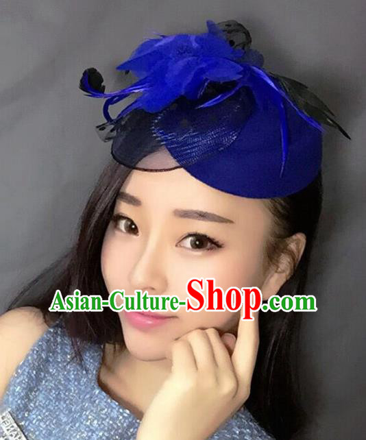 Handmade Exaggerate Wedding Hair Accessories Blue Feather Top Hat, Bride Ceremonial Occasions Vintage Headwear