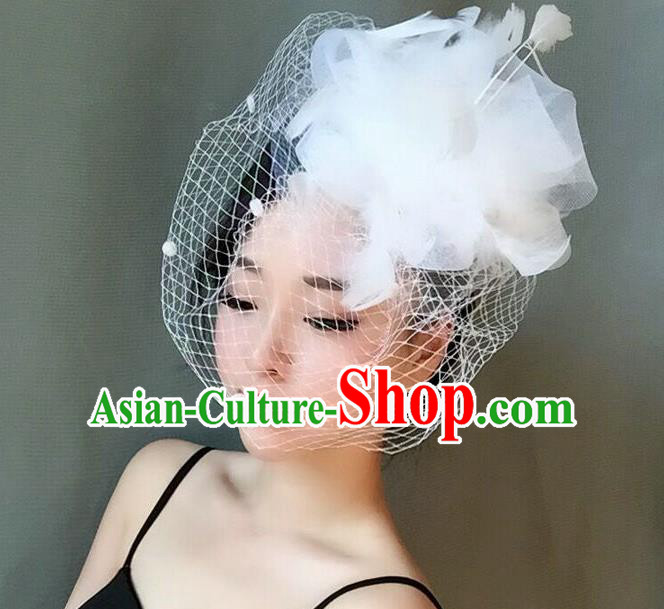 Handmade Wedding Hair Accessories White Veil Feather Top Hat, Bride Ceremonial Occasions Vintage Headwear