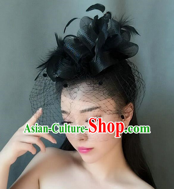 Handmade Wedding Hair Accessories Black Veil Feather Top Hat, Bride Ceremonial Occasions Vintage Headwear