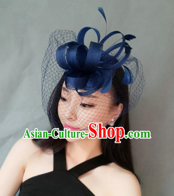 Handmade Wedding Hair Accessories Blue Veil Feather Headwear, Bride Ceremonial Occasions Vintage Top Hat