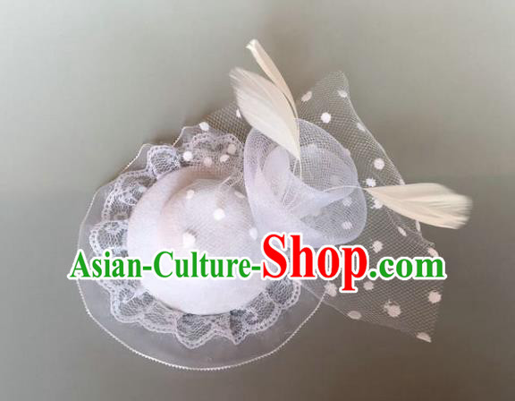 Handmade Baroque Hair Accessories White Veil Headwear, Bride Ceremonial Occasions Vintage Feather Top Hat for Women