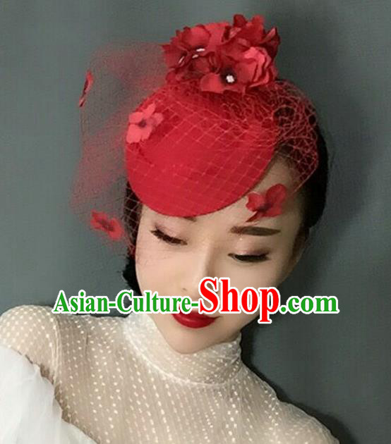 Handmade Baroque Hair Accessories Red Veil Flowers Headwear, Bride Ceremonial Occasions Vintage Top Hat for Women