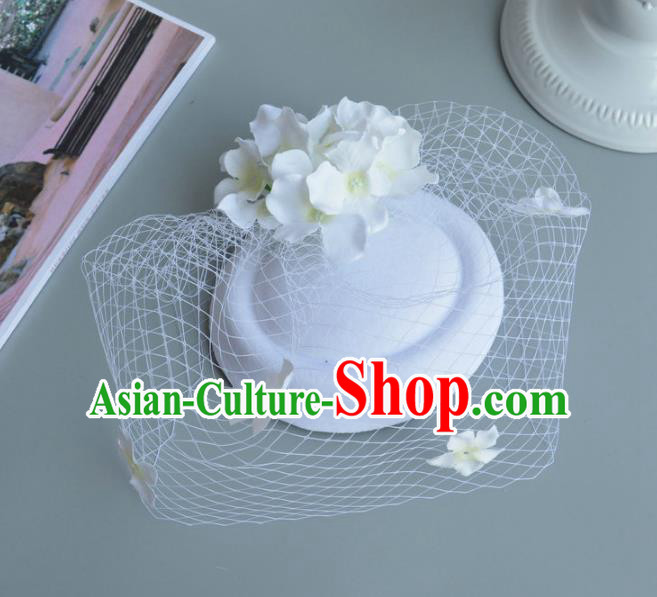 Handmade Baroque Hair Accessories White Veil Flowers Headwear, Bride Ceremonial Occasions Vintage Top Hat for Women
