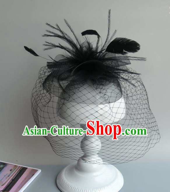 Handmade Baroque Hair Accessories Black Veil Feather Headwear, Bride Ceremonial Occasions Vintage Top Hat for Women