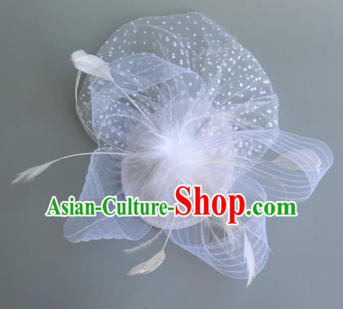 Handmade Baroque Wedding Hair Accessories White Veil Feather Headwear, Bride Ceremonial Occasions Vintage Top Hat for Women