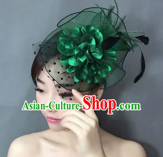 Handmade Wedding Hair Accessories Green Lace Headwear, Bride Ceremonial Occasions Vintage Top Hat