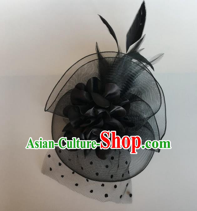 Handmade Wedding Hair Accessories Black Lace Headwear, Bride Ceremonial Occasions Vintage Top Hat