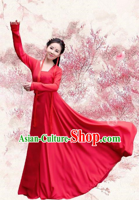 Traditional Chinese Ancient Palace Lady Wedding Embroidered Costume, China Ten great III of peach blossom Princess Peri Red Dress Clothing