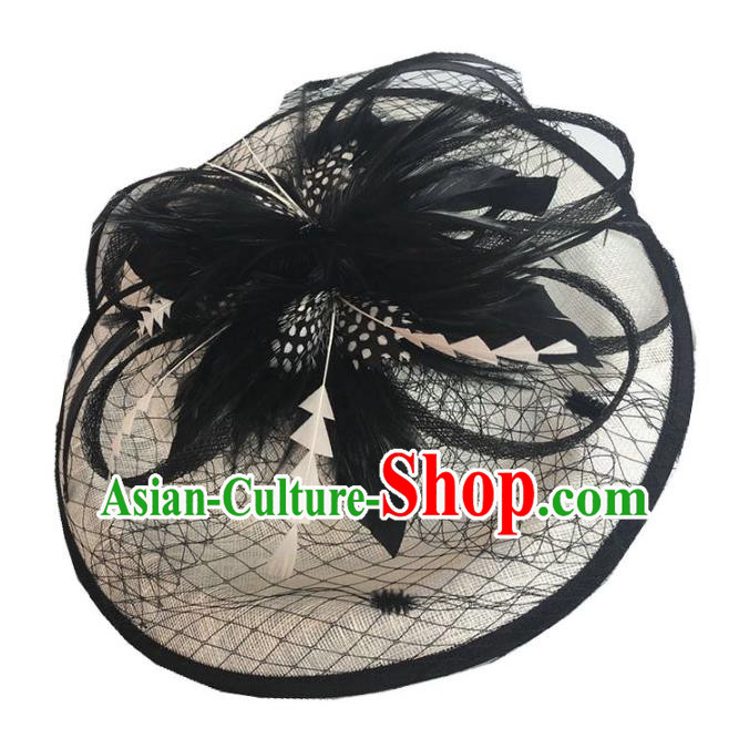 Handmade Wedding Hair Accessories Black Feather Headwear, Bride Ceremonial Occasions Vintage Veil Top Hat
