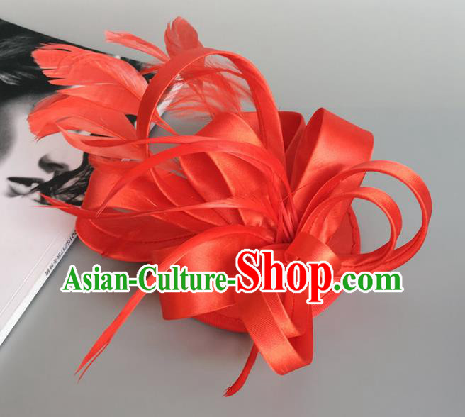 Handmade Wedding Hair Accessories Red Feather Headwear, Bride Ceremonial Occasions Vintage Top Hat