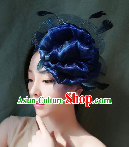 Handmade Baroque Hair Accessories Model Show Blue Feather Hair Stick, Bride Ceremonial Occasions Headwear for Women