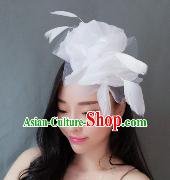 Handmade Baroque Hair Accessories Model Show White Feather Hair Stick, Bride Ceremonial Occasions Headwear for Women