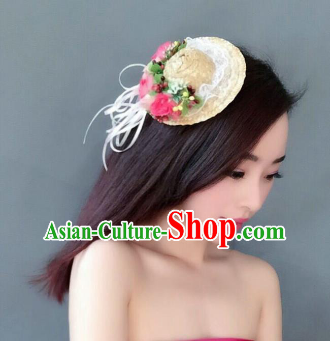 Handmade Baroque Hair Accessories Model Show Flowers Straw Hats, Bride Ceremonial Occasions Headwear for Women