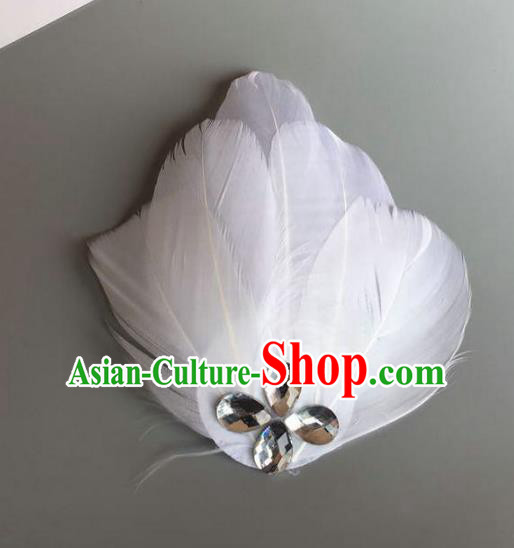 Handmade Baroque Hair Accessories White Feather Headwear, Bride Ceremonial Occasions Ballet Hair Stick for Women