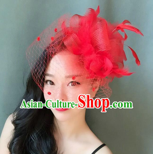 Handmade Baroque Hair Accessories Red Feather Headwear, Bride Ceremonial Occasions Veil Headpiece for Women