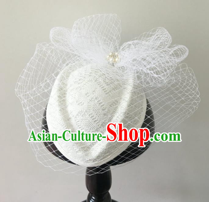 Handmade Baroque Hair Accessories White Lace Headwear, Bride Ceremonial Occasions Veil Hat for Women