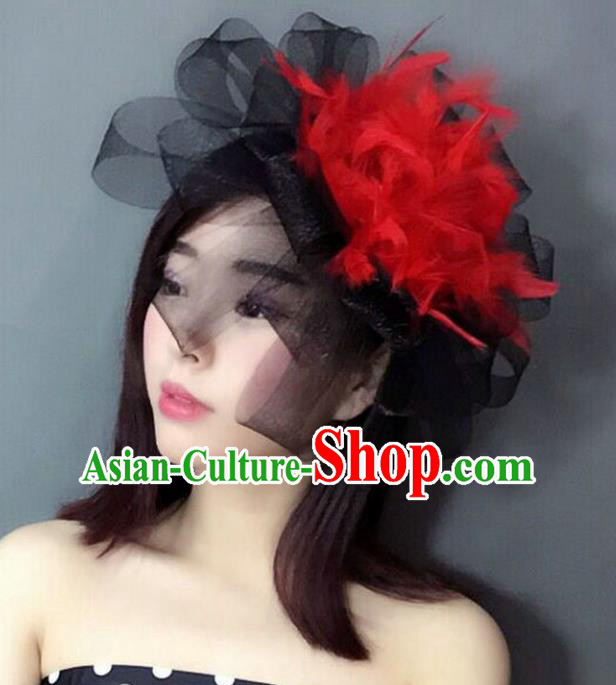 Handmade Baroque Hair Accessories Red Feather Headwear, Bride Ceremonial Occasions Top Hat for Women