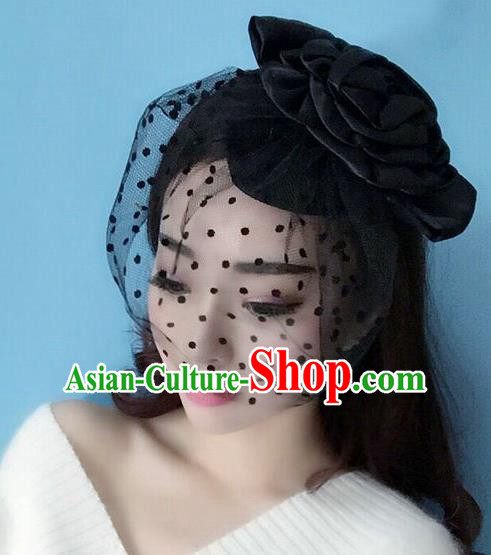 Handmade Baroque Hair Accessories Black Veil Mask, Bride Ceremonial Occasions Exaggerate Hair Clasp for Women